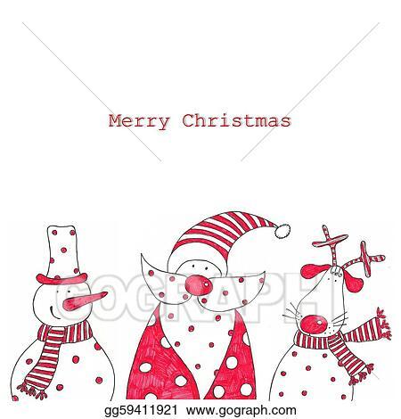 Christmas Card Clip Art.Stock Illustration Christmas Card Clipart Drawing
