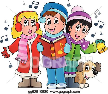 Christmas Carols Clipart.Eps Vector Christmas Carol Singers Theme 1 Stock Clipart