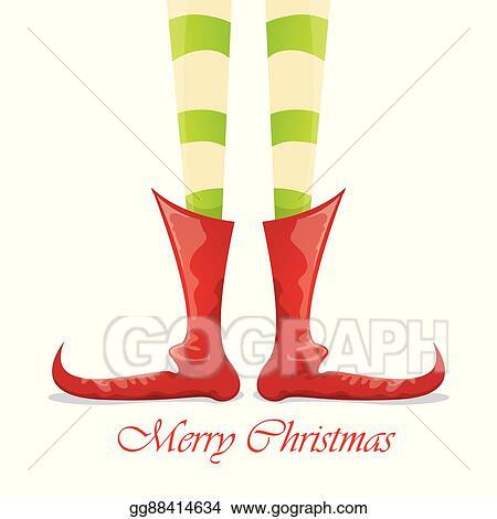 Vector Art Christmas Cartoon Elfs Legs On White Background Clipart Drawing Gg88414634 Gograph