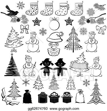 Christmas Cartoon Drawings.Drawings Christmas Cartoon Set Black Silhouettes Stock