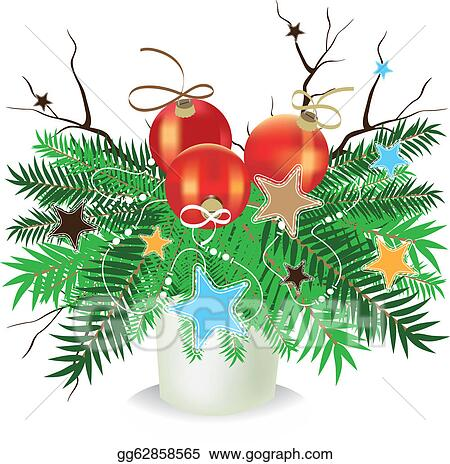 Bare Christmas Tree Clipart.Stock Illustration Christmas Composition Spruce Branches