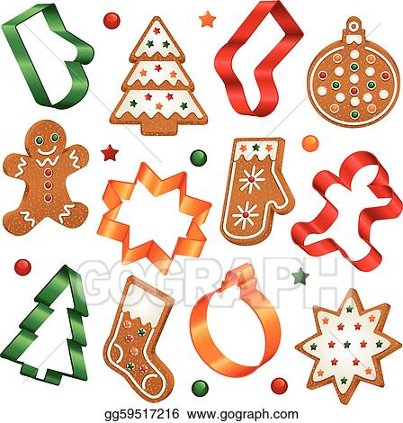 Vector Clipart Christmas Cookies And Cookie Cutter Vector