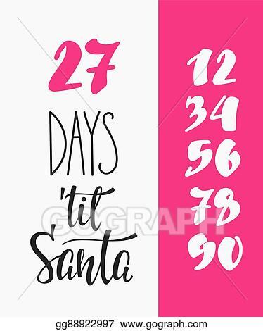 Clip Art Vector - Christmas countdown lettering typography set