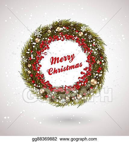 Christmas Wreath Drawing.Vector Art Christmas Decor Wreath Clipart Drawing