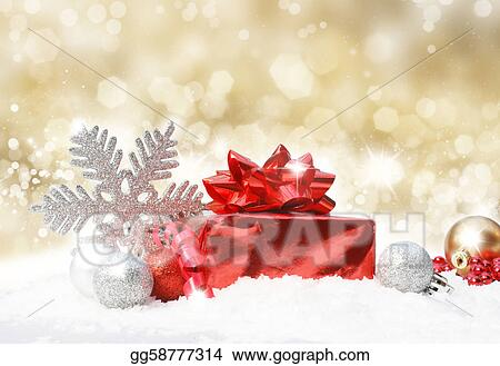 christmas decorations on gold glittery background gg58777314