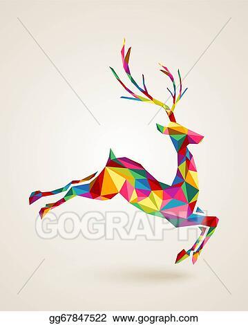 Christmas Deer Rainbow Colors Illustration