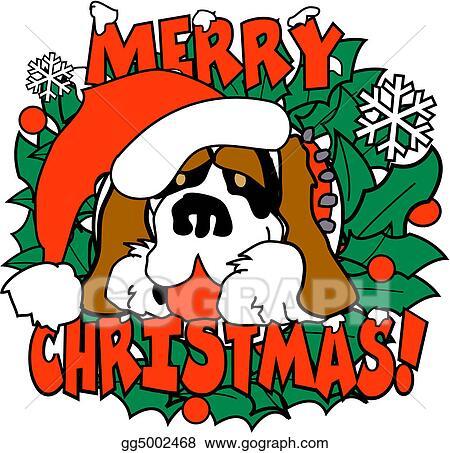 vector illustration christmas dog st bernard clip art eps rh gograph com christmas pets clipart cartoon christmas dog clipart