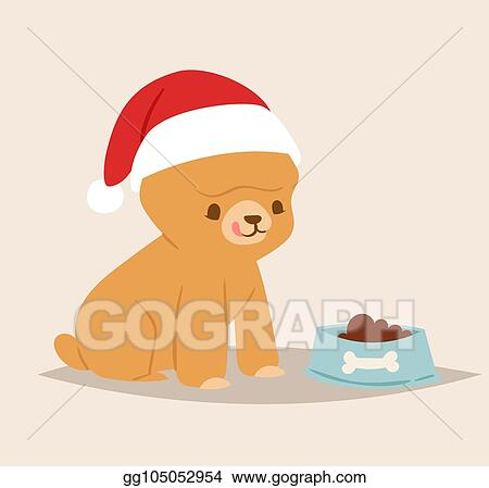 4d7f36b84f Christmas dog vector cute cartoon puppy characters illustration home pets  doggy different Xmas celebrate poses in Santa Red Hat