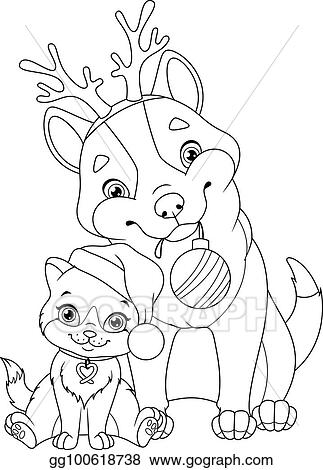 Vector Art - Christmas dog with cat coloring page. EPS ...
