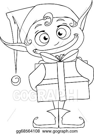 christmas elf holding a present coloring page - Present Coloring Page