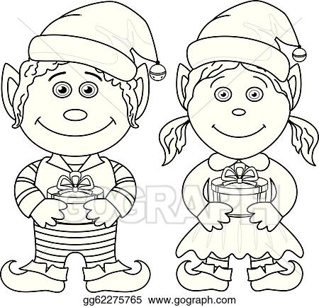 Christmas Gnome Clipart Black And White.Vector Illustration Christmas Elves Boy And Girl Outline