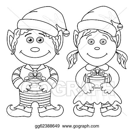 Christmas Gnome Clipart Black And White.Stock Illustration Christmas Elves Boy And Girl Outline