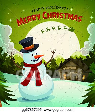Christmas Eve Clipart.Vector Clipart Christmas Eve With Snowman Background