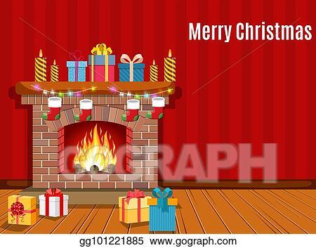 Vector Art - Christmas fireplace room interior  Clipart