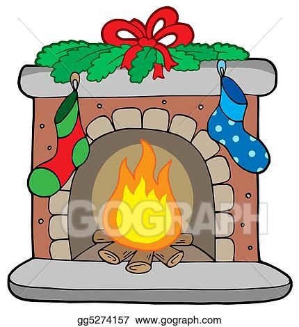 Drawing , Christmas fireplace with stockings. Clipart