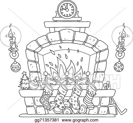 Vector Art , Christmas fireplace. Clipart Drawing gg71357381