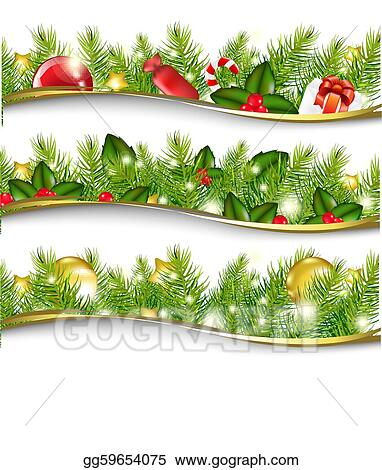 Vector Stock Christmas Garland Set Clipart Illustration