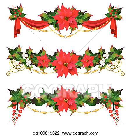 Vector Illustration Christmas Garland With Poinsettia And Cotton