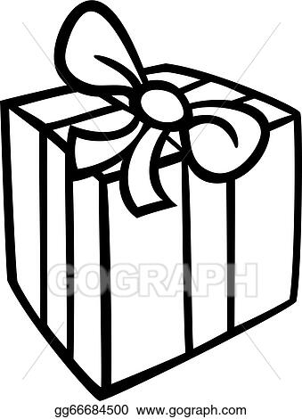 Vector Art Christmas Gift Coloring Page Clipart Drawing Gg66684500 Gograph