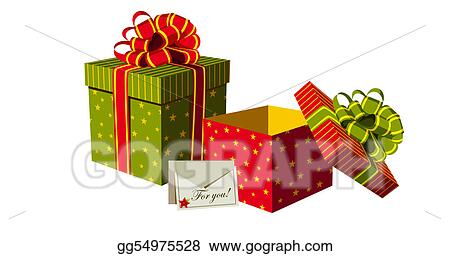 Vector Stock Christmas Gifts Boxes Clipart Illustration