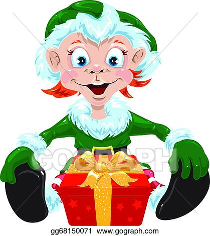 Christmas Gnome Drawing.Vector Art Christmas Gnome Clipart Drawing Gg68150071