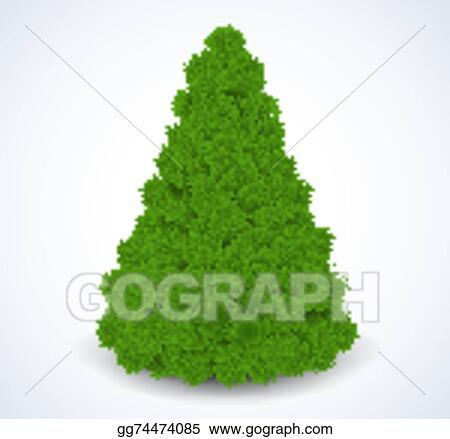 Vector Art Christmas Green Tree Realistic Vector Illustration