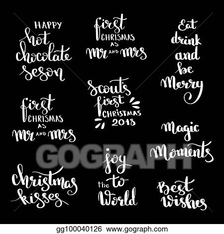 Vector Clipart - Christmas hand drawn lettering design set