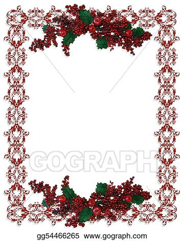 Christmas Holiday Clipart.Clipart Christmas Holiday Border Holly Berries Stock
