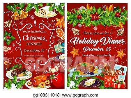 Vector Art Christmas Holiday Festive Dinner Invitation