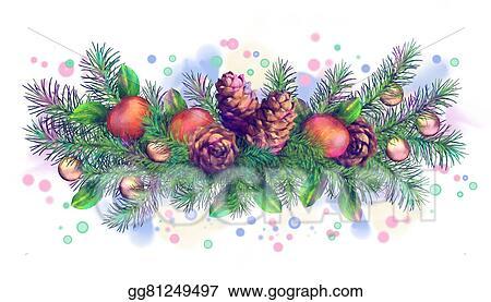 Christmas Holidays Clipart.Stock Illustration Christmas Holiday Watercolor Border
