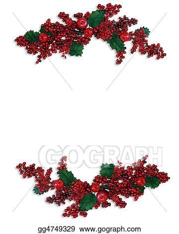 Christmas Holly Border Clipart.Stock Illustrations Christmas Holly Berries Borders Stock