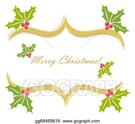 Christmas Holly Border Clipart.Eps Vector Christmas Holly Border Stock Clipart