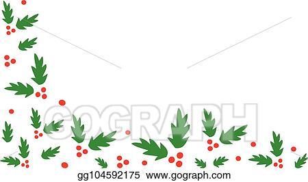 Christmas Holly Border Clipart.Eps Vector Christmas Holly Corner Border Stock Clipart