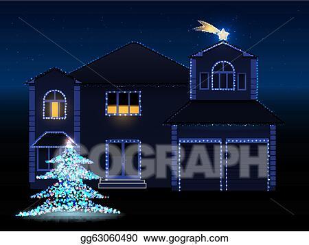 House With Christmas Lights Clipart.Vector Art Christmas House Eps Clipart Gg63060490 Gograph