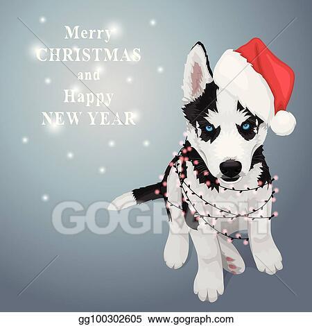 Husky Christmas Puppy.Vector Stock Christmas Husky Puppy Clipart Illustration