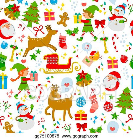 Vector Art Christmas Icons Pattern Clipart Drawing Gg75100878