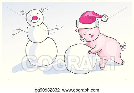 f43c146d2dcc0 Christmas illustration of cute cartoon piglet in funny winter cap making a  snowman.