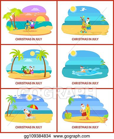 Christmas In July Santa Clipart.Vector Clipart Christmas In July Vector Image On Beach