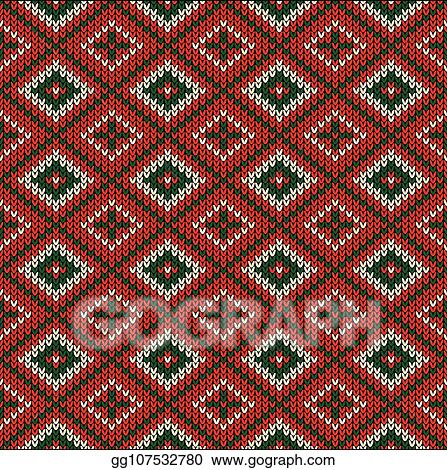 Vector Illustration Christmas Knitted Pattern Winter Geometric
