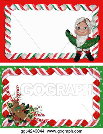 stock illustrations christmas label borders ribbon candy stock