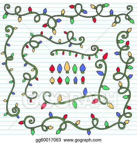 christmas lights page border doodle - Christmas Light Border