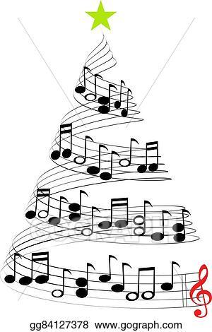 Christmas Music Clipart.Vector Art Christmas Music Tree Eps Clipart Gg84127378