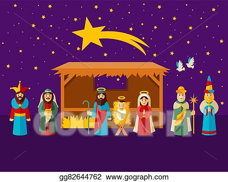 Merry christmas nativity scene. Vector art with holy