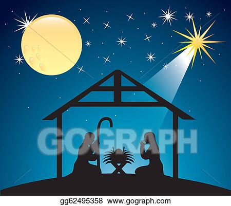 Nativity scene. Vector clipart christmas illustration