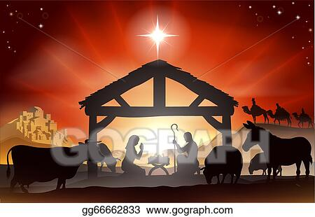 Christmas Nativity.Vector Art Christmas Nativity Scene Clipart Drawing