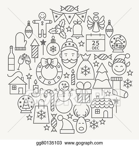 christmas new year holiday line icons set circular shaped