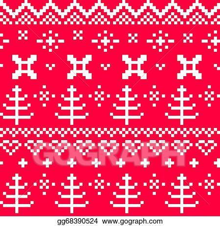 Vector Art Christmas Norwegian Seamless Knitting Pattern Red