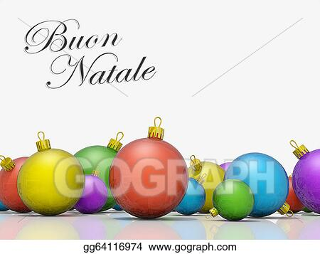 Merry Christmas In Italian.Stock Illustration Christmas Ornaments Row Merry Christmas
