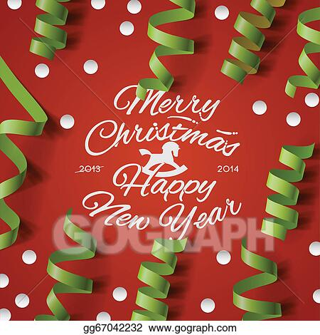 christmas party card with streamers and confetti