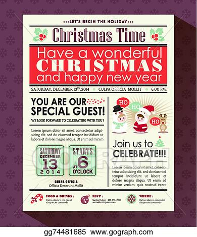 Vector clipart christmas party poster invite background in christmas party poster invite background in newspaper style stopboris Gallery